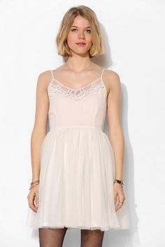 Band Of Gypsies Embroidered Tulle-Skirt Dress