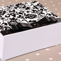 Beautiful white gift box with black and white flock covering size 20cm x 16cm x 8cm. £8.99 Also available with satin lining £10.99 - We <3 these!!