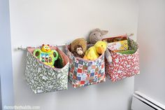 Tutorial ~ Hanging Fabric Storage Baskets for kids rooms, sewing room and maybe laundry room or bathroom. it's all about the fabric choice Hanging Storage, Cube Storage, Diy Hanging, Hanging Baskets, Sewing Tutorials, Sewing Crafts, Sewing Projects, Diy Projects, Bag Tutorials
