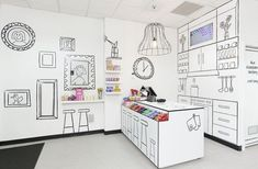 "The Candy Room looks exactly like a candy room would in your dreams. No actual heavy-duty furniture, childlike artwork all over the place, and pretty much everything in black and white but the actual candy itself. ""Edgy, humorous, and uniquely charismatic. It was not to be simply a shop; it had to be a destination and an experience,"" was the brief for the design given to Red Design Group, the creative minds behind the design of the new Melbourne shop."