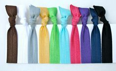 Women's Hair Ties 10 Elastic No Dent Hair Bands  by preppypieces