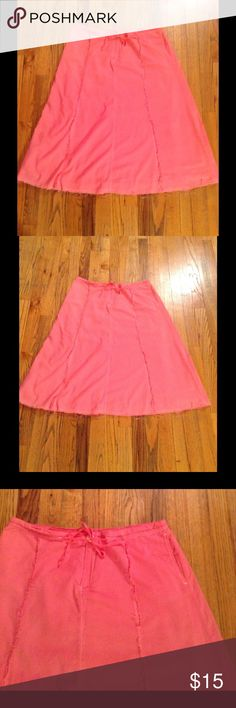 Pink Frayed Skirt Cute pink skirt by Eddie Bauer. Frayed seams run down and around the skirt, also the hem is frayed. In beautiful condition Eddie Bauer Skirts