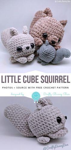 Little Cube Squirrel Free Crochet Pattern #crochet #crocheting