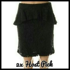 INC Black Floral Lace Peplum Skirt This skirt is brand new. Color is a deep black peplum style skirt. It has a beautiful floral lace design with lining underneath. It hits above the knee/thigh area. Pretty true to size, just a little too short for my liking. INC International Concepts Skirts