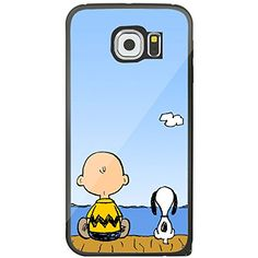 Charlie Brown Snoopy On Dock for Samsung Galaxy S6 Edge Black