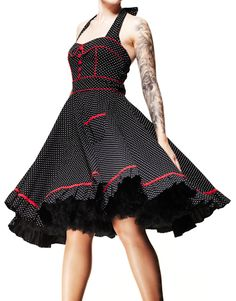 HELL BUNNY Vanity ~ Rockabilly Goth 50s Polka Dot Dress Plus Size -  $69.95