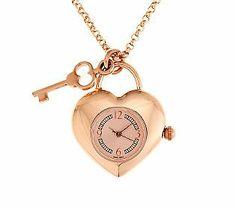 Bronzo Italia Heart Shaped Watch Pendant with 24 Rolo Link Chain