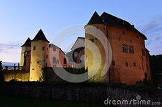Castle in Bourglinster, Luxembourg after sunset