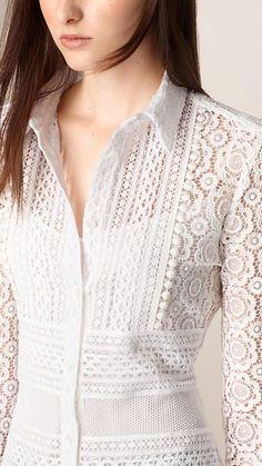 White Lace Shirt Image 3 is part of Fashion dresses - Kurti Neck Designs, Kurta Designs Women, Blouse Designs, Pakistani Fashion Casual, Pakistani Dress Design, Kurta Patterns, Blouse Patterns, Indian Designer Outfits, Western Dresses