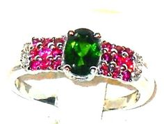 RUSSIAN CHROME DIOPSIDE and RUBELLITE TOURMALINE Ring size 7  #Unbranded #SolitairewithAccents http://stores.ebay.com/JEWELRY-AND-GIFTS-BY-ALICE-AND-ANN