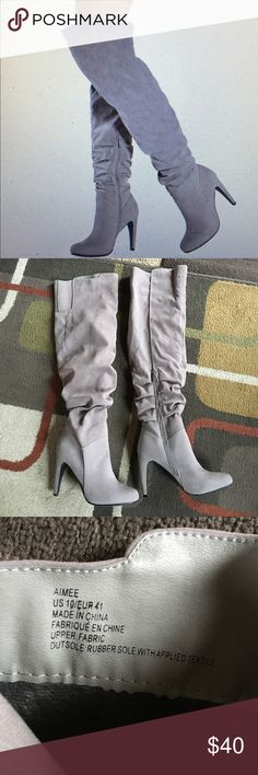 "Justfab boots NWOTJustfab over the knee bootsheel 4"" inner half zip for easy on and off stretch panel near top JustFab Shoes Over the Knee Boots"