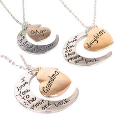 3pc Set Grandma, Mom, Daughter I Love You To The Moon and Back Charm Necklace #Handmade #Pendant
