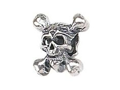 14516066a Zable Sterling Silver Skull and Crossbones Bead / Charm >>> Read