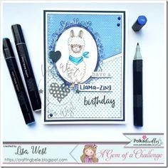 Designed by DT Lisa West using Llama-mazing Love Tag, Spectrum Noir, Alcohol Markers, Lace Border, Digi Stamps, Clear Stamps, I Card, Lisa, Doodles