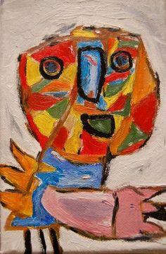 COBRA art Karel Appel  felle kleuren eenvoudige vormen, dikke verf