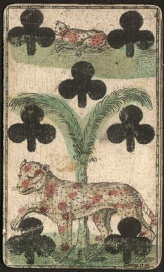 Playing card, 1700's. Seven of Clubs with tigers lost among the palms