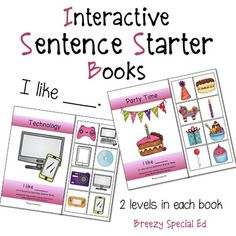 """I Like"" Interactive / Adapted Sentence Starter Book - receptive readers to help teach sentence structure"