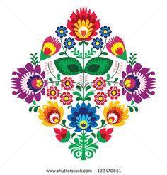 Folk embroidery with flowers - traditional polish pattern - wycinanka, Wzory Lowickie - stock vector