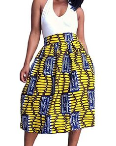 Christmas YeeATZ African Print A-line Pleated Midi Skirt(Yellow,S) >>> Learn more by visiting the image link.