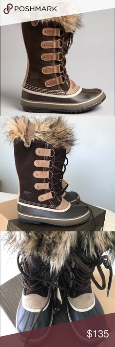 Sorel Joan of Arctic fur trim boots size 7 brown Brand new, never worn. Perfect for cold days when you still want to feel stylish. The color is Hawk. Which is a dark brown with tan accents. Sorel Shoes Winter & Rain Boots