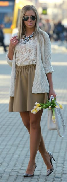 Camel Skirt On White Outfit