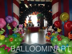 Mickey and friends party entrance full of balloons