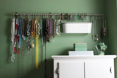 jewelry organization. Fintorp Series from Ikea..... hmm is this the bar that holds the cups? Cause that might be the best idea