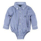 Andy and Evan Blue Gingham L/S Classic Shirtzie