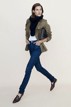 Classic cool: scarf, green jacket, tucked-in tee, skinny jeans & loafers #style #fashion #shoes
