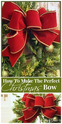 Bows are like lipstick on a wreath… they make them look bright and prettier! I had many request to share how I make what I call… THE CHRISTMAS BOW It's easy and impressive. (How To Make Christmas Bows) Christmas Bows, Simple Christmas, Winter Christmas, Christmas Holidays, Christmas Ornaments, How To Tie A Christmas Bow, Christmas Wreaths To Make, Homemade Christmas, Christmas Projects