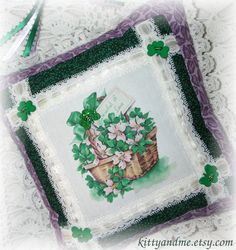 Basket Of Shamrocks St Patricks Day Hanging Pillow by Kittyandme, $20.00