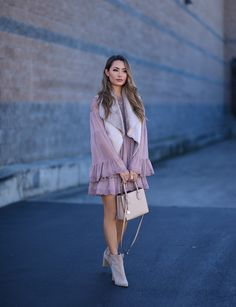 Dusty Rose - Hapa Time | Free People Dress | Vest from Kitsch Couture | Kendall and Kylie Booties | Michael Kors Bag