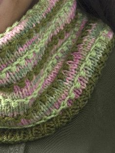 Free Pattern: Colorful cowl - although this is seen flat and seamed, I think it could be knitted in the round!