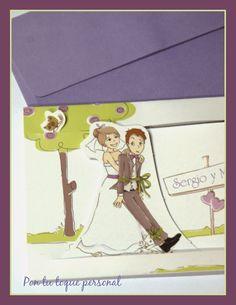 Invitación de boda informal y divertida. Detalle de los personajes.