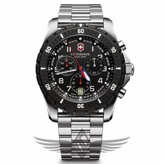 Victorinox Swiss Army Maverick Sport 43mm Steel Case Black Dial Steel Bracelet Chronograph Quartz Watch 241679 #OCWatchCompany #SwissArmy #WatchStore #WalnutCreek