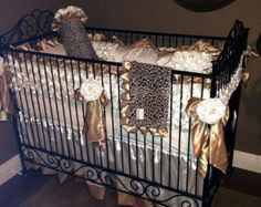 Ivory & Gold Crib Bedding Leopard and Gold by RitzyBabyOriginal