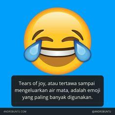 Tears of joy, atau tertawa sampai mengeluarkan air mata, adalah emoji yang paling banyak digunakan di dunia. Baca selengkapnya di androbuntu.com
