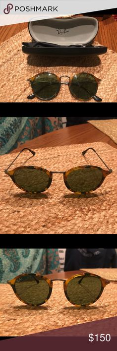 Round tortoise Ray Bans Great condition, worn once or twice. Just didn't have a use for them. Comes with case. Ray-Ban Accessories Sunglasses