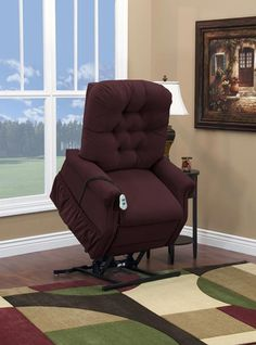 Med-Lift - Two Way Petite Reclining Power Lift Chair with Matching Arm and Headrest Covers - Aaron Berry Fabric - 1555P-AABE-FS