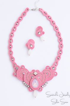 Pink and Silver unique handmade soutache necklace