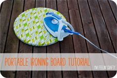 Portable Ironing Board Tutorial-Title-I'm Feelin' Crafty - great idea for small ironing projects