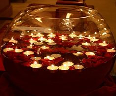 2015 Christmas floating candles in a oval glass bowl with rose petals - Christmas easy made centerpieces Diwali Party, Diwali Diy, Diwali Celebration, Happy Diwali, Diwali Decorations At Home, Festival Decorations, Wedding Decorations, Table Decorations, Romantic Ideas
