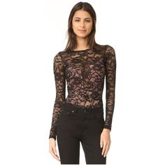 Fleur du Mal Chat Noir Lace Long Sleeve Bodysuit ($350) ❤ liked on Polyvore featuring intimates, shapewear and black
