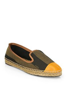 Fendi Junia Canvas & Leather Espadrille Flats - Cute than the other espadrilles.