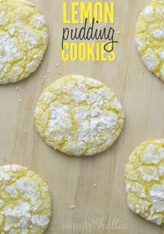 These Lemon Pudding Crinkle Cookies are the perfect on-the-go summer treat! They only take 20 minutes to make, bake and clean-up. Plus they are light, tangy and oh-so-delicious too! by veronicawasp Mini Desserts, Lemon Desserts, Lemon Recipes, Just Desserts, Baking Recipes, Cookie Recipes, Delicious Desserts, Dessert Recipes, Yummy Food