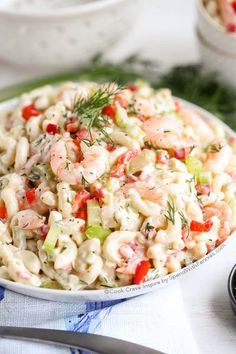 Shrimp Pasta Salad is definitely the perfect dish to take to a potluck or party! It comes together within a few moments time and it is incredibly delicious! The fresh lemon juice adds a little zip to the dressing while the dill adds summery freshness comp Cold Pasta Recipes, Shrimp Salad Recipes, Summer Salad Recipes, Shrimp Dishes, Summer Salads, Pasta Dishes, Seafood Recipes, Cooking Recipes, Potluck Recipes