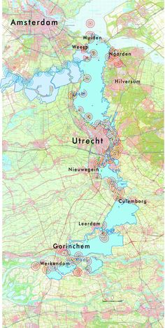 New Dutch Waterline: Utrecht protected Holland Map, Urban Analysis, World Geography, Concept Diagram, Old Maps, City Maps, Weird And Wonderful, Vintage Maps, Utrecht