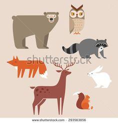 Cute forest animals vector set include bear, owl, fox, raccoon, deer, rabbit and squirrel. Vector illustration.