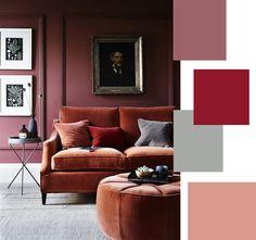 Rosso scuro per la parete del soggiorno, colori in abbinamento - proposte.
