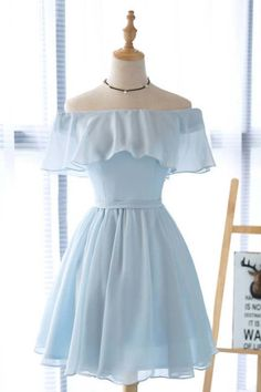 Blue Homecoming Dresses, Cute Prom Dresses, Prom Dresses For Teens, Pretty Dresses, Short Dresses, Beautiful Dresses, Short Chiffon Dress, Cute Casual Outfits, Stylish Outfits